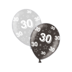 "30th Birthday Shimmering Silver & Deepest Black Printed Latex Balloons 11""/27.5cm - 25 PC"