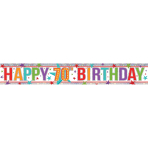 Multi Colour Happy 70th Birthday Holographic Foil Banners 2.7m - 12 PKG