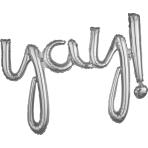 """""""Yay!"""" Script Phrase Silver Foil Balloons 35""""/88cm x 25""""/63cm G40- 5 PC"""
