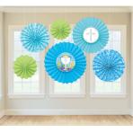 Communion Blue Paper Fans - 6 PKG/6