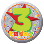 Happy 3rd Birthday Holographic Badges 5.5cm - 12 PKG