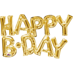 """Happy B-Day"" Phrase Gold SuperShape Foil Balloons G20 - 5 PC"