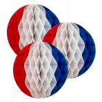 Red White & Blue Honeycomb Decorations 18cm - 6 PKG/3