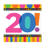Dots & Stripes 20th Birthday Luncheon Napkins - 6 PKG/16