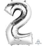 """Number 2 Silver SuperShape Foil Balloons 21""""/53cm w x 35""""/88cm h P50 - 5 PC"""