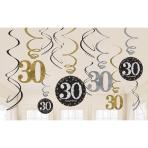 Gold Sparkling Celebration 30th Swirl Decoration Value Packs - 12 PKG/12