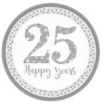 Sparkling Silver Anniversary Prismatic Paper Plates 23cm - 6 PKG/8