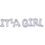 "It's A Girl"" Silver Holographic Block Phrase Foil Balloons G20 - 5 PC"