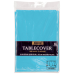 Caribbean Blue Round Plastic Tablecovers 2.13m - 12 PC