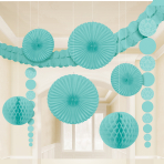 Robins Egg Blue Damask Party Decoration Kits - 6 PKG/9