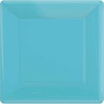 Caribbean Blue Square Paper Plates 25cm - 6 PKG/20