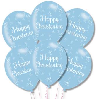 "Happy Christening Blue Latex Balloons 11""/27.5cm - 10 PKG/6"