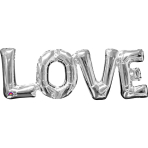"""Love"" Phrase Silver SuperShape Foil Balloons 25""/63cm x 9""/22cm S55 - 5 PC"