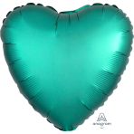 Jade Heart Satin Luxe Standard HX Packaged Foil Balloons S15 - 5 PC