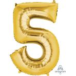 """Number 5 Gold SuperShape Foil Balloons 21""""/53cm w x 34""""/86cm h P50 - 5 PC"""