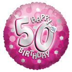 Pink Sparkle Party Happy Birthday 50th Standard Foil Balloons S40 - 5 PC