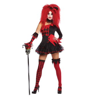 Adults Jesterina Clown Costume - Size 8-10 - 1 PC