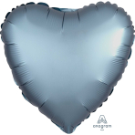 Steel Blue Heart Satin Luxe Standard HX Packaged Foil Balloons S15 - 5 PC
