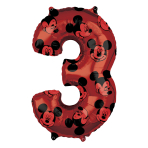 "Mickey Mouse Forever Number 3 Mid-Size SuperShape Foil Balloons 17""/43cm w x 26""/66cm h L26 - 5 PC"