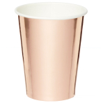 Metallic Rose Gold Cups 250ml - 6 PKG/8