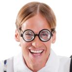 Thick Nerd Horn-Rimmed Glasses - 1 PC