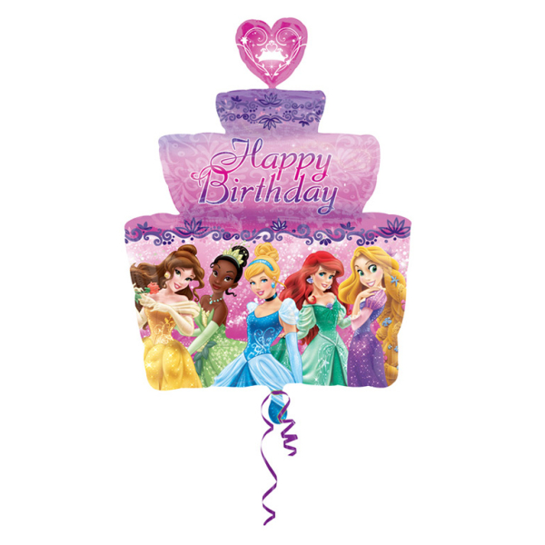 Marvelous Giant 28X21 Disney Princess Birthday Cake Foil Helium Balloon Birthday Cards Printable Trancafe Filternl
