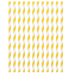 Sunshine Yellow Paper Straws 19cm - 12 PKG/24