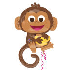 "Happy Monkey SuperShape Foil Balloons 26""/63cm w x 36""/91cm h P35 - 5 PC"