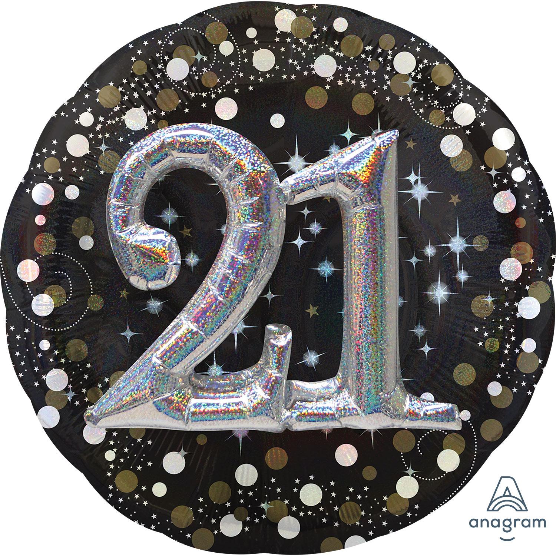 Gold Sparkling Celebration 21st Multi Foil Balloons 36
