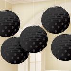 Black Hot Stamped Paper Lanterns 12cm - 6 PKG/5