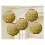 Gold Hot Stamped Paper Lanterns 12cm - 6 PKG/5
