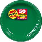 Festive Green Plastic Plates 28cm - 6 PKG/50