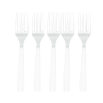 Frosty White Heavy Weight Plastic Forks - 12 PKG/48