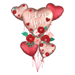 Heart With Flowers Satin Luxe Balloon Bouquets P75 - 5 PC