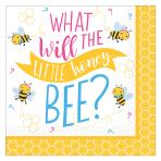 What Will It Bee? Beverage Napkins 25cm - 12 PKG/16