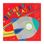Blast Off Birthday Luncheon Napkins 33cm - 12 PKG/16