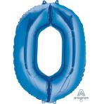 """Number 0 Blue SuperShape Foil Balloons 22""""/55cm w x 35""""/88cm h P50 - 5 PC"""