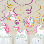 Magical Unicorn Swirl Decorations - 9 PKG/12