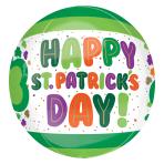 "St. Patrick's Day Dots & Shamrocks Orbz Foil Balloons 15""/38cm x 16""/40cm G20 - 5 PC"
