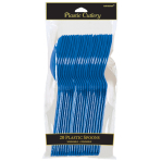 Bright Royal Blue Plastic Spoons - 12 PKG/20