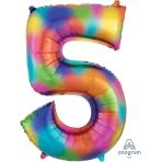 """Number 5 Rainbow Splash SuperShape Foil Balloons 23""""/58cm w x 34""""/86cm h P50 - 5 PC"""