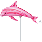 Pink Dolphin Mini Shape Foil Air Filled Balloons A30 - 5 PC