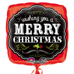 Merry Christmas Chalkboard Square Standard Foil Balloons S40 - 5 PC