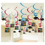 Multicolour Graduation Pack Foil Swirl Decorations - 3 PKG/50