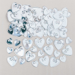 Loving Hearts Silver Embossed Metallic Confetti 14g - 12 PKG