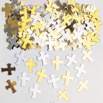Crosses Gold & Silver Metallic Confetti 14g - 12 PC