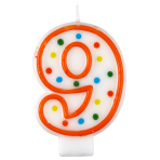 Polka Dot Birthday Candles Number 9 - 7.5cm - 12 PKG