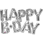 """Happy B-Day"" Phrase Silver SuperShape Foil Balloons G20 - 5 PC"