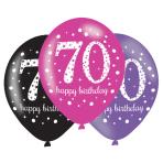 "Pink Sparkling Celebration 70th Birthday Latex Balloons 11""/27.5cm - 6PKG/6"