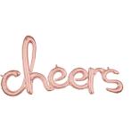 """Cheers"" Rose Gold Script Phrase Foil Balloons 40""/101cm w x 21""/53cm h G40 - 5 PC"